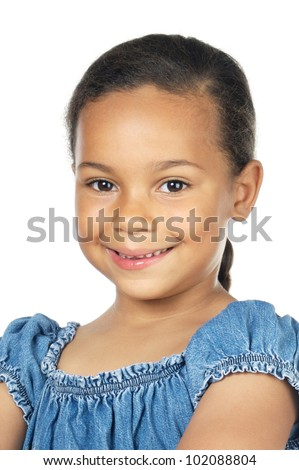 Adorable latin girl isolated on a over white background