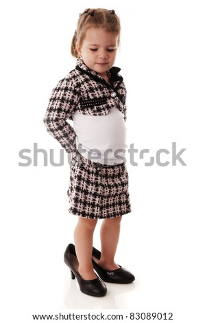 843c86817b Adorable little baby girl with big high heels #83089012 · Portrait of a Smiling  Asian Indian Baby Girl in Traditional Attire on White #59728240