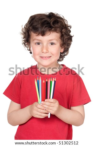 Adorable little boy with many crayons of colors isolated over white