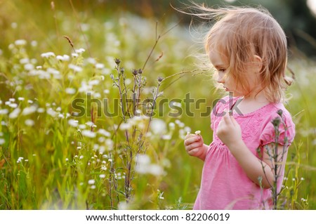 Adorable little girl in a meadow at summer or autumn