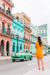 Adorable little girl in popular street in Old Havana, Cuba.