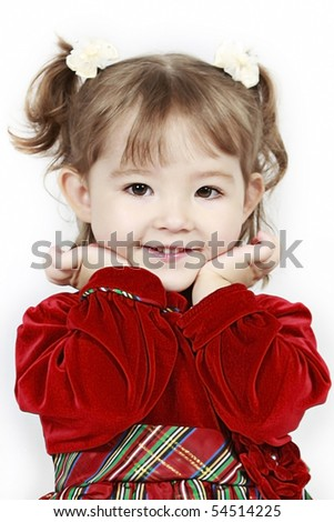 Adorable little girl isolated on white background