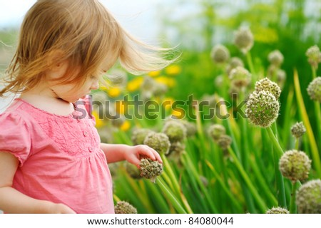 Adorable little girl outdoors at summer