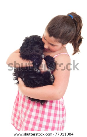 adorable little girl playing with her dog (isolated on white background)