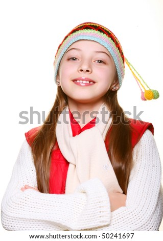 Adorable little girl with clothes for the winter