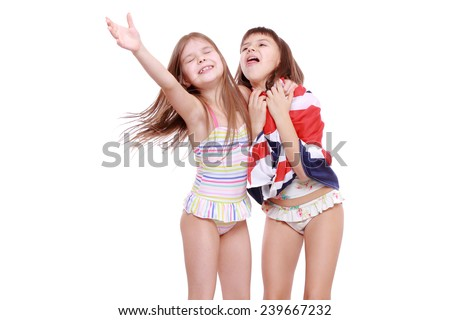 884ab36da5da7 adorable little girls posing as a fashion models isolated over white  background #239667232 · funny lovely little girls wearing swimsuits ...