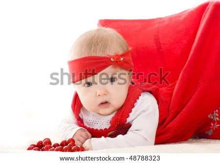 adorable 3 months baby girl lying - stock photo