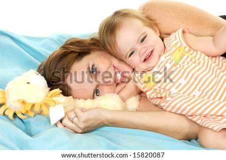 Adorable Mother and Child, playing together