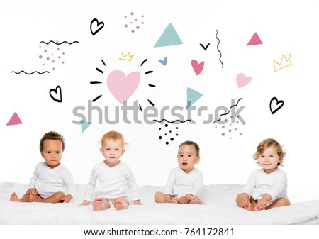 adorable multiethnic toddler boys and girls isolated on white