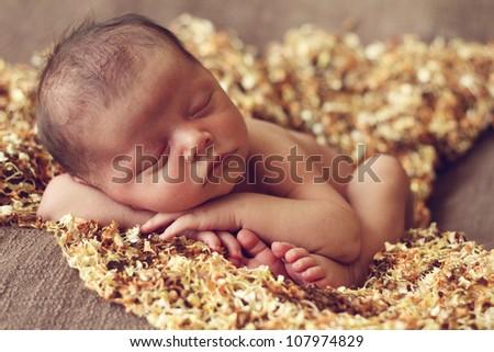 Adorable newborn baby boy