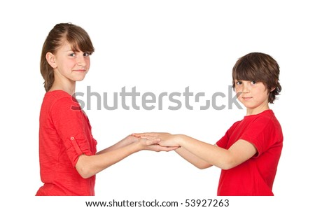 preteen girl and little gir in red isolated on white background ...