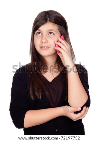 Adorable preteen girl with a mobile isolated on white background ...