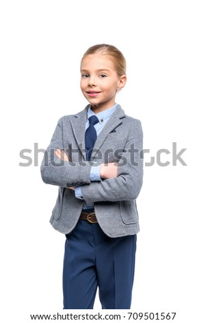 e17e503451 Royalty-free 8 year old school boy arms folded on…  110056571 Stock ...