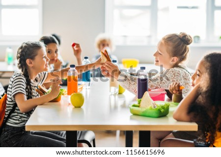 adorable schoolgirls taking lunch at school cafeteria