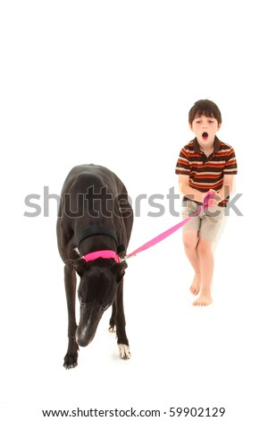Adorable seven year old french american boy with black greyhound dog over white background.