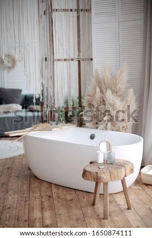 Adorable shabby chic bathroom interior in bright colors. gold plumbing. Home interior. Selective focus Zdjęcia stock ©