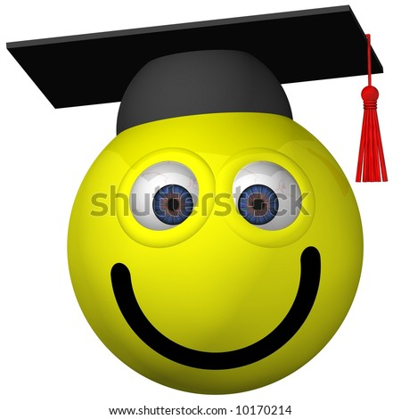 Adorable smiley wearing a graduation cap isolated on white