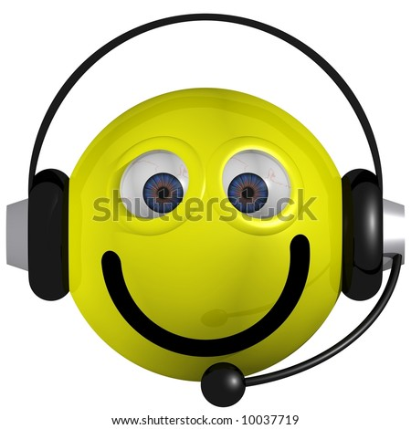 Adorable smiley wearing a headset isolated on white