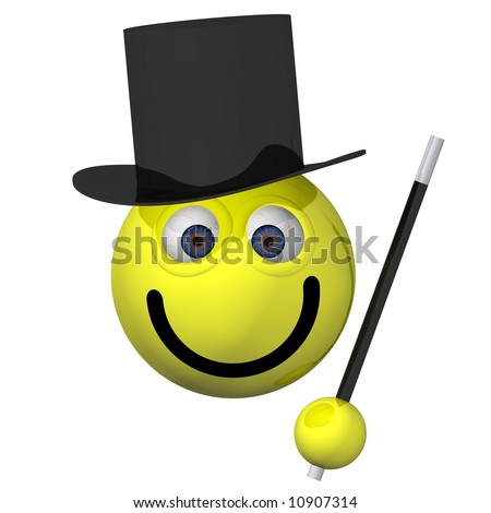 Adorable smiley wearing a magician costume isolated on white
