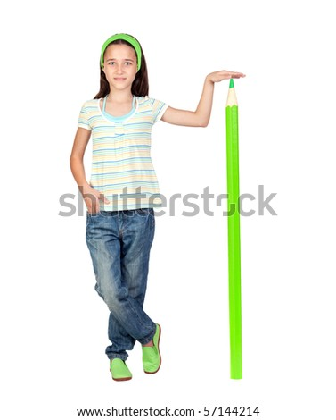 Adorable student girl with a giant green pencil isolated on white background