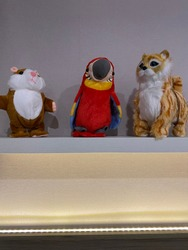 adorable stuffed guinea pigs and cats and birds