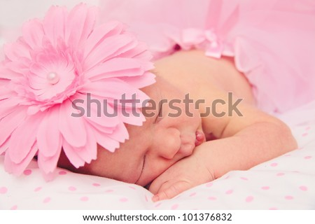 Adorable, sweet ballerina with fluffy pink skirt and flower sleeping tightly