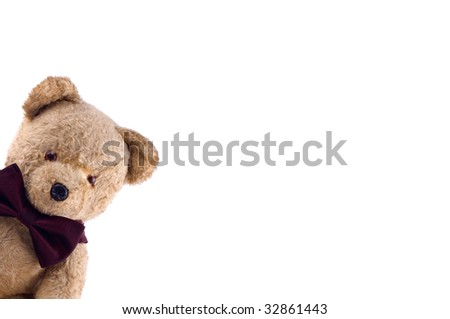 Adorable Teddy Bear with a bow tie   on white