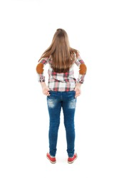 Adorable teenage girl looking above her. Rear view, Isolated on white background