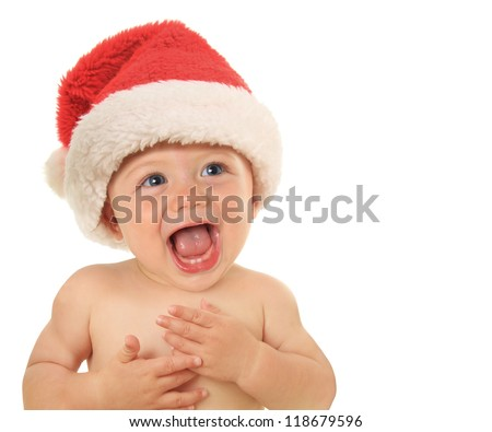 Adorable ten month old Christmas baby.
