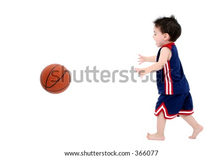Adorable Toddler Boy Playing Basketball Barefoot Over White.