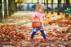 Adorable toddler girl picking chestnuts in basket in Tuileries garden in Paris, France. Happy child enjoying warm and sunny fall day. Outdoor autumn activities for kids