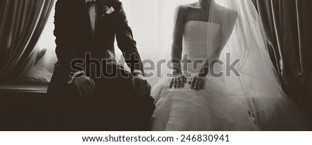 Adorable wedding couple together.  #246830941