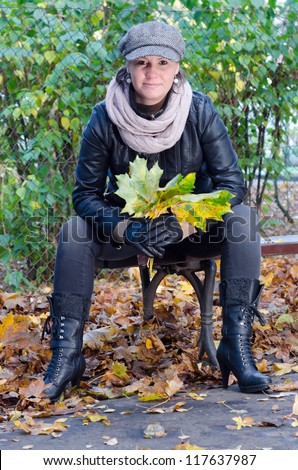 Adorable women in autumn scenery