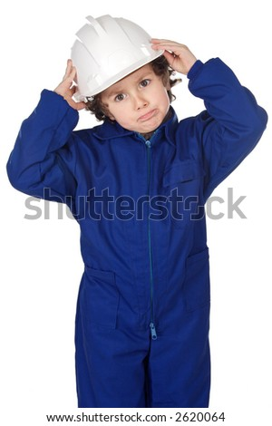 Adorable working future a over white background