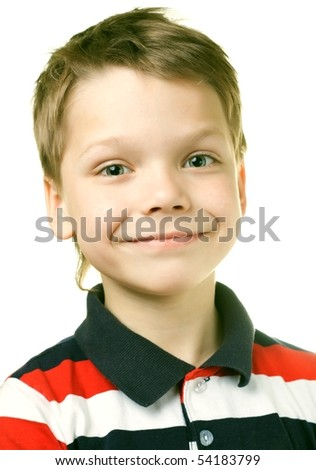 Adorable 7 year old European boy against white background