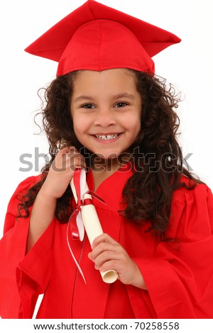 Adorable 4 year old hispanic african american mixed girl in red graduation cap and gown with certificate diploma over white.