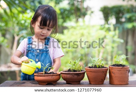 Adorable 3 years old asian little girl is watering the plant  in the pots outside the house, concept of plant growing learning activity for preschool kid and child education for the tree in nature