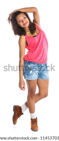 Adorable young smiling girl. Isolated white backround