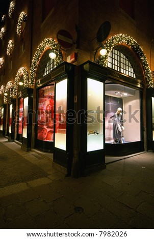 Adorned shop window of a luxury shop.�