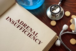 Adrenal insufficiency  written on book with tablets. Medicine concept.