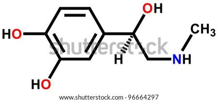 Adrenaline (epinephrine) structural formula - stock photo