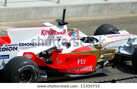 Adrian Sutil Formula one Racing driver completes tyre testing June 24, 2008 at Silverstone Racing circuit UK