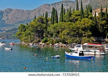 Adriatic Sea coast in Cavtat, Dubrovnik-Neretva County, Croatia