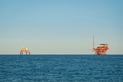 Adriatic sea extraction and transformation of natural gas, platforms located near ravenna, italy.