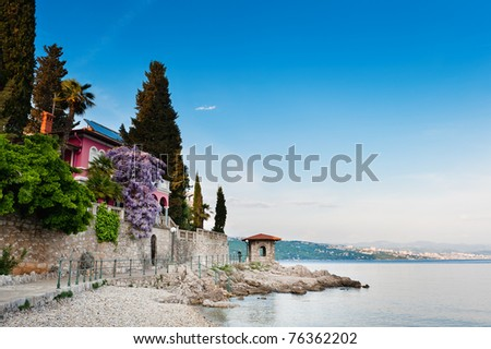 Adriatic Sea scenic view. Opatija town, popular tourist destination of Croatian coast.