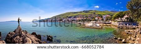 Adriatic town of Opatija waterfront panoramic view, tourist destination in Kvarner bay, Croatia