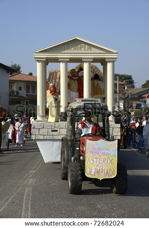 "ADRO - MARCH 6 : the ""Papier-Mache"" carnival parade floats on March 6, 2011 in Adro, Italy"
