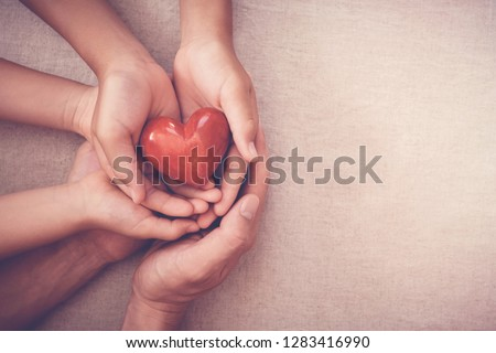 adult and child hands holding red heart, organ donation, happy volunteer charity, wellbeing,family insurance and CSR concept, world heart day, world health day, world mental health day, foster home