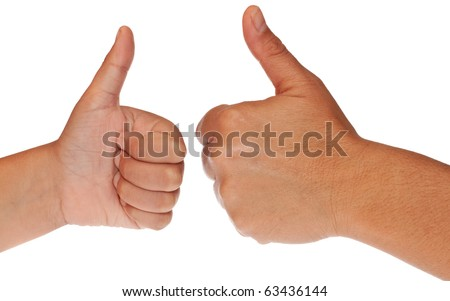 stock photo adult and child hands one in front of the other making the thumbs up sign on a white background 63436144 Caucasion mid adult retro businessman sitting at desk giving ...