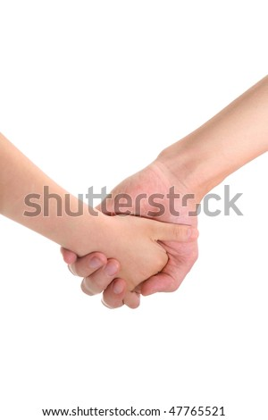 adult and child's hands holding on white